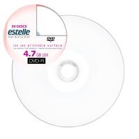 DVD-R estelle inkjet printabil 4.7GB full surface viteza 16x - pachet de 50 discuri