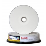 DVD+R DL 8.5GB (dual layer) inkjet printabil lucios (glossy) Kodak viteza 8x - pachet de 10 discuri