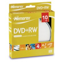 DVD+RW 4.7GB Memorex viteza maxima 4x ambalate in cakebox